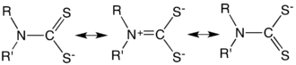 Dithiocarbamate - Main resonance structures of a dithiocarbamate anion.
