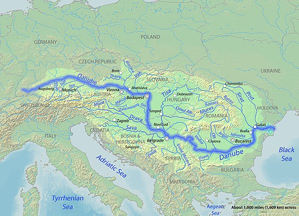 The Danube watercourse system throughout Central and Southeastern Europe