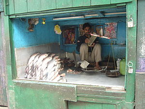 Retailing in India - A fish retail store in West Bengal, India