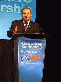 Dexter at an NDP meeting in Halifax, 2009.
