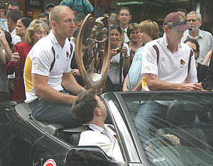 National Rugby League - Darren Lockyer and Wayne Bennett parade the premiership after the Brisbane Broncos' Grand Final victory in 2006.