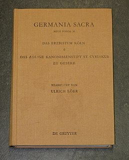 Germania Sacra long-term research project into German church history during the time of the Holy Roman Empire