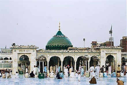 The Data Darbar shrine, one of Pakistan's most important, was built to commemorate the patron saint of Lahore, Ali Hujwiri, who lived in the city during the Ghaznavid era in the 11th century. Data Durbar as more then one decade before by Usman Ghani.jpg