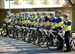 Community policing - Day 127 - Cycle all out day West Midlands Police, United Kingdom. Local cycle patrol officers concentrate on troubled areas reported by the community.