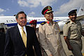 Defense.gov News Photo 111004-F-RG147-964 - Egyptian Maj. Gen. Rouini escorts Secretary of Defense Leon Panetta to his motorcade as he arrives in Cairo Egypt on Oct. 4 2011. Panetta is.jpg