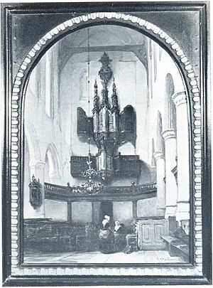 Hendrik Niehoff - Painting, c. 1850 by J. Bosboom: Organ in Delft, Oude Kerk