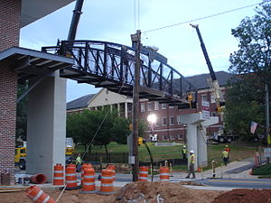 Demorest, Georgia - The new pedestrian footbridge has a ramp on one side and an elevator and stairs on the other.