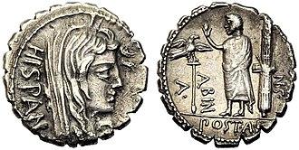 Postumia (gens) - Image: Denarius Aulus Postumius Albinus