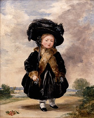 Victoria at age four, by Stephen Poyntz Denning (1823) Denning, Stephen Poyntz - Princess Victoria aged Four - Google Art Project.jpg