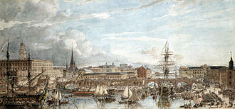 Russo-Swedish War (1788–1790) - Swedish warships fitted out in Stockholm in 1788; watercolor by Louis Jean Desprez
