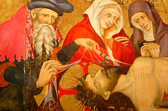 Santa Maria, Manresa - Detail of the altarpiece of the Holy Spirit.