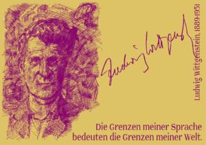 Die Grenzen meiner Sprache bedeuten die Grenzen meiner Welt. Ludwig Wittgenstein, 1889-1951 -de.png