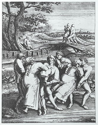 Dancing mania - Dancing mania on a pilgrimage to the church at Sint-Jans-Molenbeek, a 1642 engraving by Hendrick Hondius after a 1564 drawing by Pieter Brueghel the Elder.