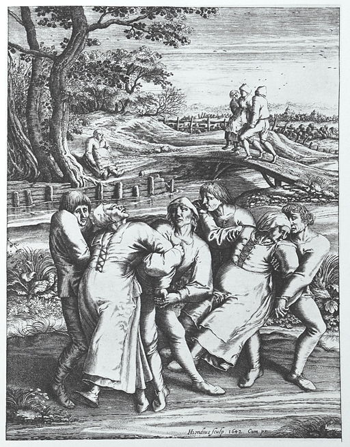 Dancing mania on a pilgrimage to the church at Sint-Jans-Molenbeek, a 1642 engraving by Hendrick Hondius after a 1564 drawing by Pieter Brueghel the Elder.