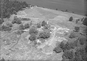 Oak Island mystery - August 1931 aerial photo of digs and buildings