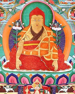 Dolpopa Sherab Gyaltsen with Snow Lions supporting his lotus throne detail, from- Dolpopa (cropped).jpg