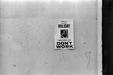 Sign from 1969 promoting a holiday to honor the anniversary of the assassination of Martin Luther King Jr.