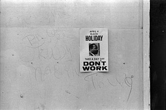 Martin Luther King Jr. Day - Sign from 1969 promoting a holiday to honor the anniversary of the assassination of Martin Luther King Jr.