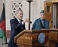 Donald Rumsfeld and President Hamid Karzai at the Pentagon in 2006.jpg