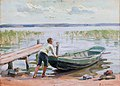 Dora Wahlroos - A Boy and a Boat by the Shore.jpg