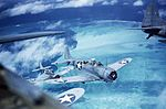 Douglas SBD-3 Dauntless of VMSB-241 in flight over Midway c1942.jpg