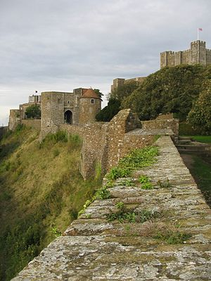 Dover Castle - Section of the western curtain wall leading to Peverell's Gateway