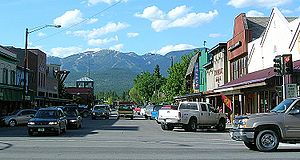 Whitefish, Montana - Looking north from downtown Whitefish