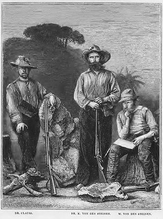 Karl von den Steinen - Dr. Karl von den Steinen (center) and his companions on the first expedition in the Xingú region.
