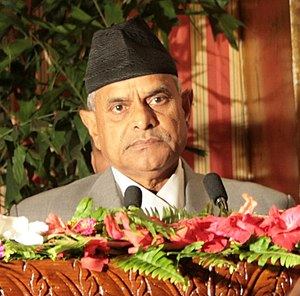 Dr. Ram Baran Yadav, the President of Nepal, s...