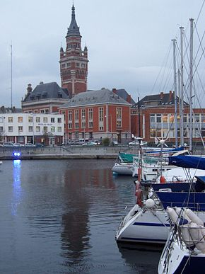 Dunkerque boats and belfry.JPG