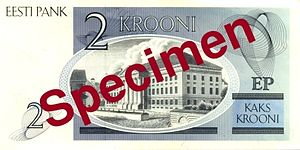 2 krooni - Reverse of the 2 krooni bill