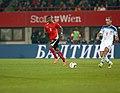 EM-Qualifikationsspiel Österreich-Russland 2014-11-15 081 Rubin Okotie Denis Gluschakow.jpg