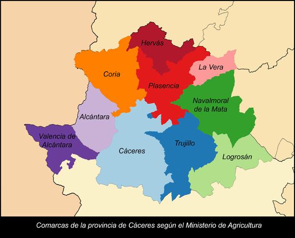 Mapa De Extremadura Comarcas.Categoria Comarcas De La Provincia De Caceres Wikipedia