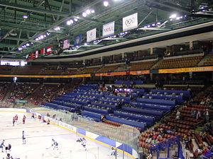 Ice hockey at the 2002 Winter Olympics - Image: E center interior 2002 olympic venue