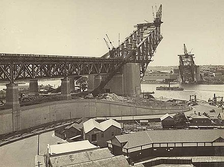 The arch being constructed. Courtesy, State Library of New South Wales Early costruction, Sydney harbour bridge.jpg