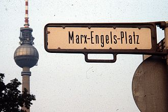 Schloßplatz (Berlin) - East Berlin street sign for Marx-Engels-Platz, with the Berlin Television Tower in the background.