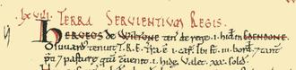 Battle of Edington - Extract from Domesday Book showing Edington as Edendone