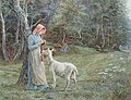 Edith Martineau - Maid crocheting in a field, with a goat standing beside.jpg