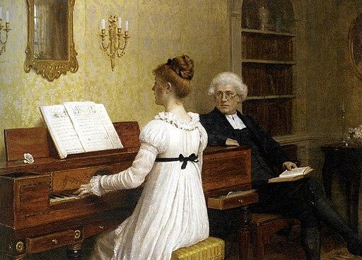Edmund Blair Leighton - Singing to the reverend