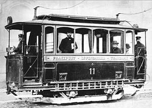 History of electric power transmission - Streetcars created enormous demand for early electricity.  This Siemens Tram from 1884 required 500 V direct current, which was typical.