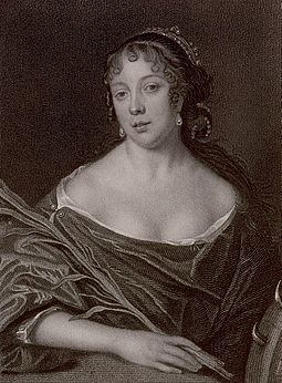 Elisabeth de St Michel, Pepys's wife. Stipple engraving by James Thomson, after a 1666 painting (now destroyed) by John Hayls. Elizabeth Pepys.jpg