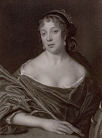 Elisabeth de St Michel, Pepys' wife. Stipple engraving by James Thomson, after a 1666 painting (now destroyed) by John Hayls. Elizabeth Pepys.jpg