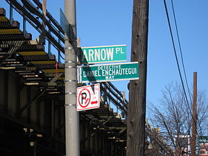 Pelham Bay (neighborhood), Bronx - Daniel Enchautegui Way (formerly Arnow Place) in Pelham Bay, renamed in honor of a fallen police officer