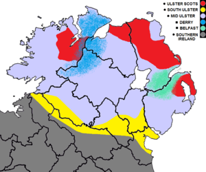 Ulster English - Approximate boundaries of the current and historical English dialects in Ulster. Mid Ulster English is in light grey-blue. Ulster Scots (in red) is no longer spoken in the entire area. The modern-day greater Derry (dark blue) and Belfast (sea-green) dialect regions are also designated. The Irish-speaking Gaeltacht is not shown