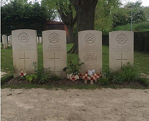 Essex Farm Cemetery - Image: Essex Farm CWGC Cemetery Thomas Barratt VC group