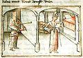 Euriant se dévêt pendant que sa servante Gondrée perce le mur avec une chignole..jpg