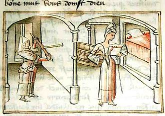 Master of Wavrin - Euriant undresses while his Gondrous maid pierces the wall with a hand drill, illustrated by the Wavrin Master