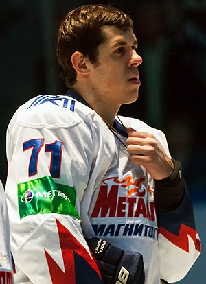 2012–13 NHL lockout - Evgeni Malkin as a Metallurg Magnitogorsk player in 2012.