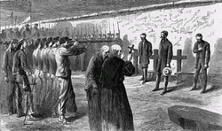 Drawing of the execution of Maximilian published shortly after the event in 1867