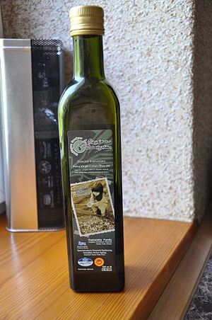 Greek food products - A bottle of Cretan olive oil